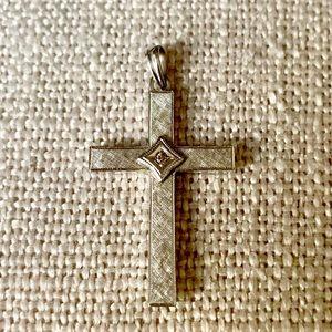 Solid 10k white gold diamond cross pendant